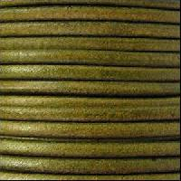 3mm Round Leather Cord - Distressed Green