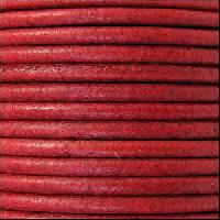 3mm Round Leather Cord - Distressed Red