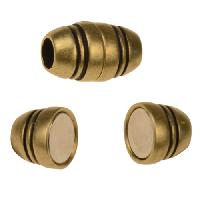 3mm Barrel Round Leather Cord Magnetic Clasp - Antique Brass