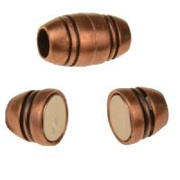 3mm Barrel Round Leather Cord Magnetic Clasp - Antique Copper