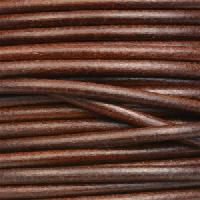 3mm Round Mediterranean Leather Cord - Dark Whiskey - per inch