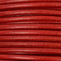 3mm Round Mediterranean Leather Cord - Dark Red - per inch