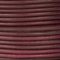 3mm Round Mediterranean Leather Cord - Mulberry - per inch