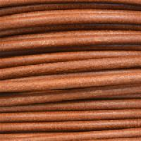 3mm Round Mediterranean Leather Cord - Light Brown - per inch