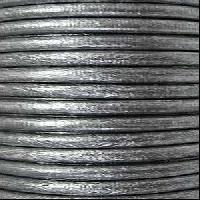 3mm Round Euro Leather Cord per 25M SPOOL - Metallic Silver