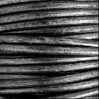 3mm Round Euro Leather Cord per 25M SPOOL - Metallic Silver / Black