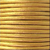 3mm Round Euro Leather Cord - Metallic Gold - per inch