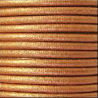 3mm Round Leather Cord - Metallic Copper