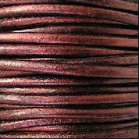 3mm Round Euro Leather Cord per 25M SPOOL - Metallic Bordeaux