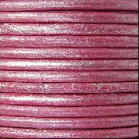 3mm Round Euro Leather Cord - Metallic Fuchsia - per inch