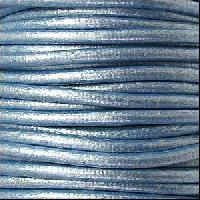 3mm Round Euro Leather Cord - Metallic Sky Blue - per inch