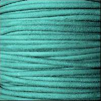 Suede 3mm ROUND Leather Cord - Turquoise - per inch