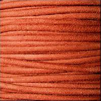 Suede 3mm ROUND Leather Cord - Orange - per inch