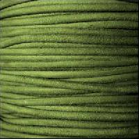 Suede 3mm ROUND Leather Cord - Green - per inch