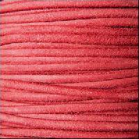 Suede 3mm ROUND Leather Cord - Faded Red - per inch