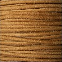 Suede 3mm ROUND Leather Cord - Camel - per inch