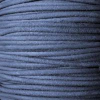 Suede 3mm ROUND Leather Cord - Denim - per inch