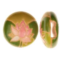 Golem Studio Slider Flat 10mm Round Lotus Flower - Pink / Green