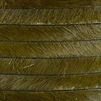 5mm flat HAIR ON leather KHAKI GREEN - per inch
