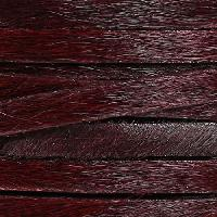 5mm flat HAIR ON leather BURGUNDY - per inch