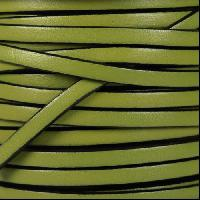 5mm Flat Leather Cord - Olive Green / Black - per inch