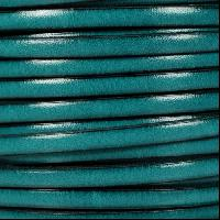 5mm Flat Leather Cord - Teal - per inch