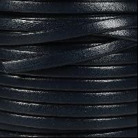 5mm Flat Leather Cord - Navy - per inch