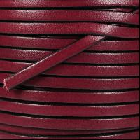 5mm Flat Leather Cord - Plum / Black - per inch
