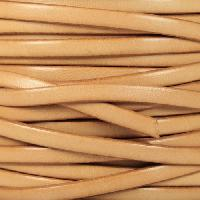 5mm Flat Leather Cord - Natural - per inch
