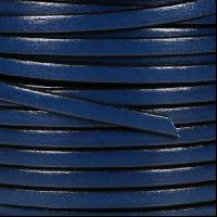 5mm Flat Leather Cord - Dark Blue / Black