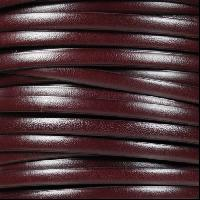 5mm Flat Leather Cord per 5 Meters - Burgundy / Black