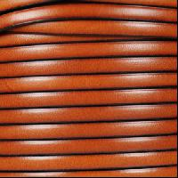 5mm Flat Leather Cord - Burnt Orange - per inch