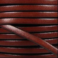 5mm Flat Leather Cord - Mahogany - per inch