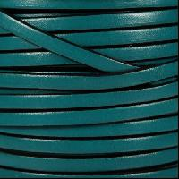 5mm Flat Leather Cord - Turquoise / Black - per inch