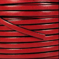 5mm Flat Leather Cord - Red - per inch