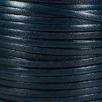 Camel 5mm Flat Leather Cord - Navy Blue - per inch