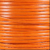 Italian Dolce 5mm Flat Leather Cord - Tangerine - per inch