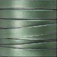 5mm Flat Leather Cord - Metallic Fern Green - per inch