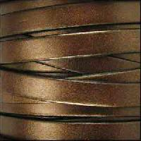 5mm Flat Leather Cord - Metallic Brown - per inch