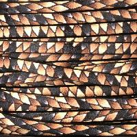 Ornate 5mm Printed Italian Flat Leather Cord - Brown Diamondback