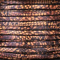 Ornate 5mm Printed Italian Flat Leather Cord per 5 Meters - Brown Snakeskin