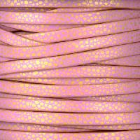 Ornate 5mm Printed Italian Flat Leather Cord - Pink Gold Dots