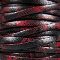 Ornate 5mm Printed Italian Flat Leather Cord per 5 Meters - Red Laser