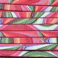 Ornate 5mm Printed Italian Flat Leather Cord - Groovy Rainbow - per inch