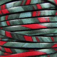 Ornate 5mm Printed Italian Flat Leather Cord per 5 Meters - Jungle