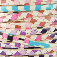 Ornate 5mm Printed Italian Flat Leather Cord per 5 Meters - Pastel Mosaic