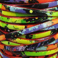 Ornate 5mm Printed Italian Flat Leather Cord per 5 Meters - Neon Splatter