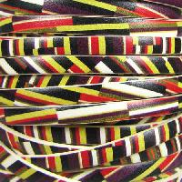 Ornate 5mm Printed Italian Flat Leather Cord per 5 Meters - Angled Stripes