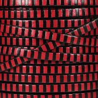 Striped 5mm Flat Leather Cord - Black / Red