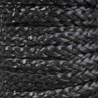 Braided 5mm FLAT Leather Cord - Black